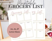Printable Grocery List   Minimalist Grocery List   White, Rose, and Beige Shopping List