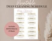 Printable Deep Cleaning Schedule, Minimalist Cleaning Schedule for Busy Moms, Yearly Cleaning List