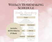 Printable Weekly Homemaking Schedule, Minimalist Cleaning Schedule for Busy Moms