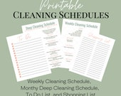Printable Cleaning Schedules for Busy Moms, Monthly Deep Cleaning Schedule, Weekly Cleaning Schedule, To Do List, and Shopping List