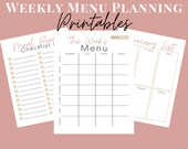 Weekly Meal Planning Printables, Minimalist Menu Planner, Grocery List, and Meal Prep Checklist