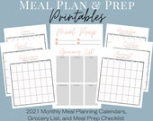 2021 Meal Planning Printables, 12 Printable Monthly Meal Planning Calendars, Grocery List, and Meal Prep Checklist