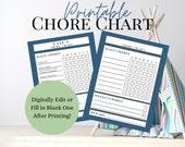 Printable Kids Chore Chart   Navy Blue Chore Checklist for Kids