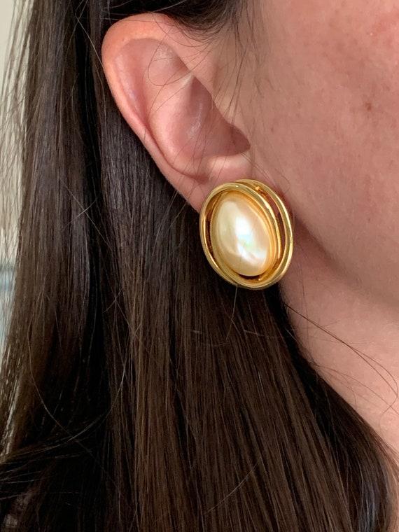 Vintage Faux Pearl Earrings - image 1