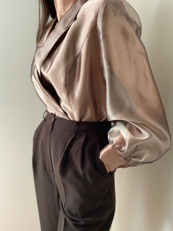 Vintage Bronze Organza Puff Sleeves Blouse