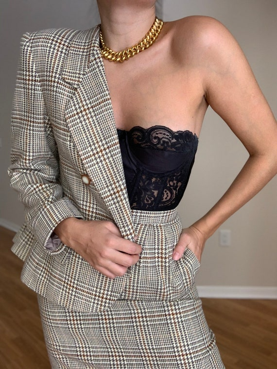 Vintage LE SUIT Houndstooth Beige Skirt Suit