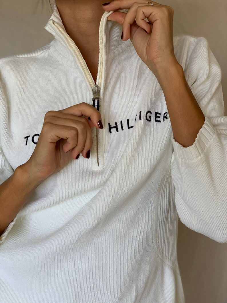 Vintage Y2K TOMMY HILFIGER White Cotton Sweater with front zipper
