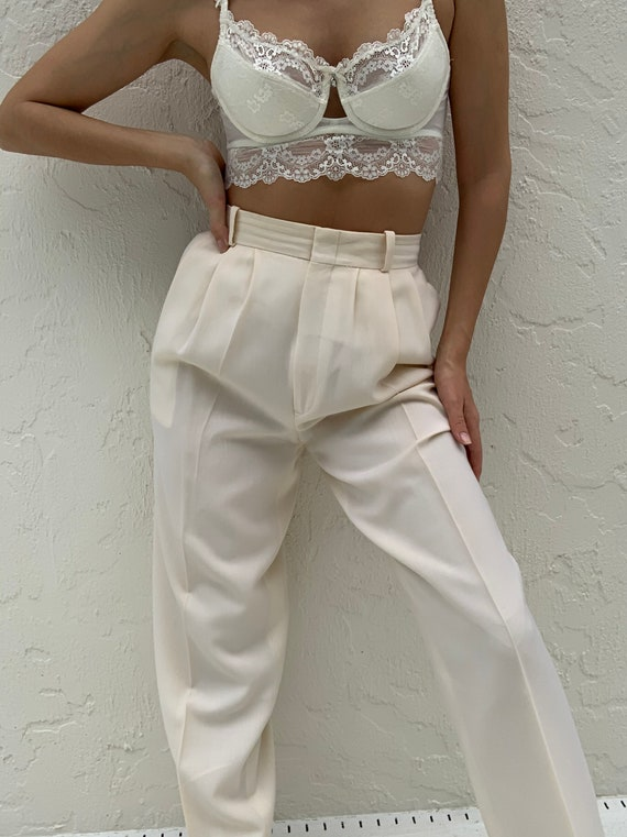 Vintage High Waisted Creamy Trousers