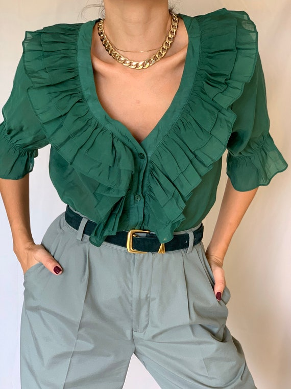 Vintage Ruffle Collar Green Blouse