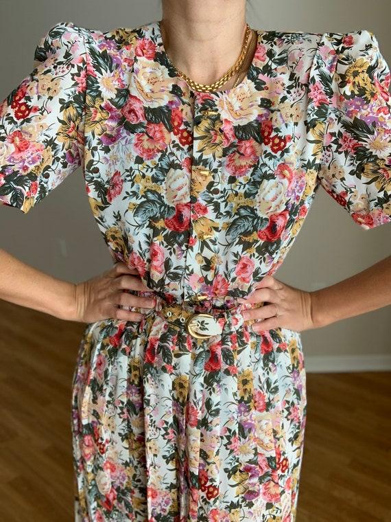 Vintage 80s floral Print Dress