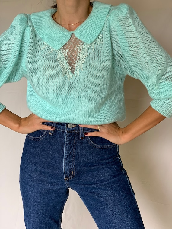 Vintage 80s Turquoise Puff Sleeves Front Details S