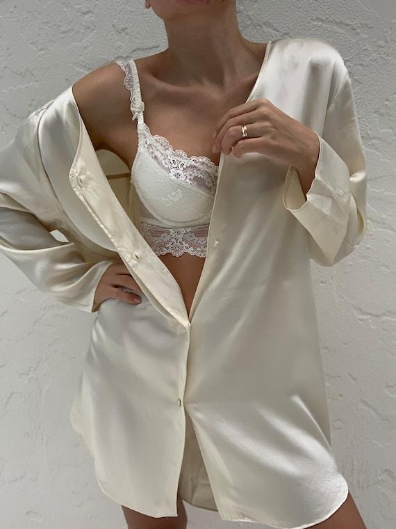Vintage Pure Silk Pajama Shirt