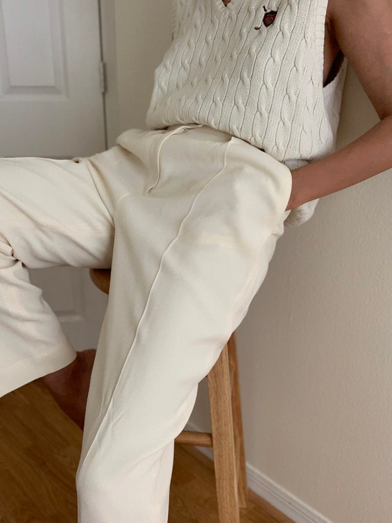 Vintage Creamy White High Waisted Trousers