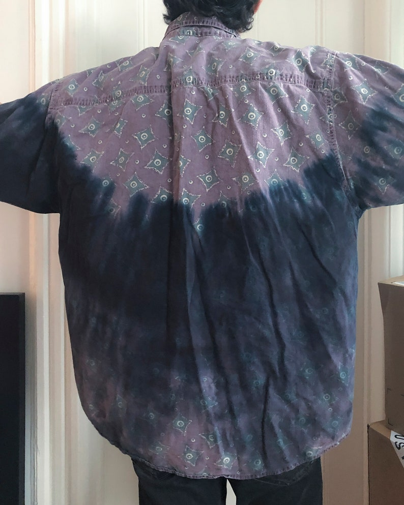 custom black tie dye vintage flannel