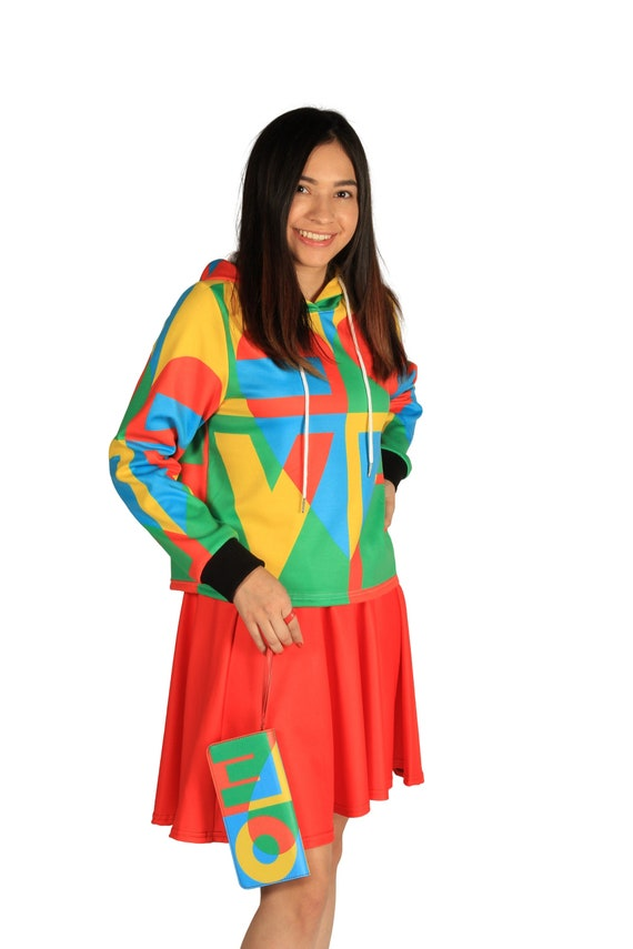 LOVE Cropped Hoodie  Retro Red Yellow Green