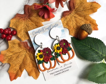 FLORAL PUMPKIN| Fall Floral Pumpkin Polymer Clay Hypoallergenic Surgical Stainless Steel Statement Stud Earrings| Autumn Accessories| Gifts