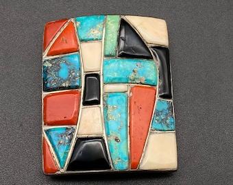 Vintage Zuni Roger Tsabetsaye Ketoh Bow Arm Guard Turquoise Sterling Silver