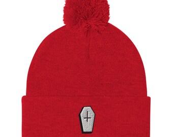 Coffin Unisex Pom-Pom Beanie   Coffin Winter Hat   Halloween Hat, Beanie   The Creeperie