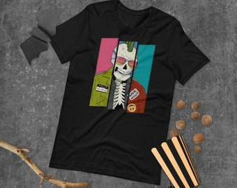 Punk Skeleton Shirt   Skeleton T-Shirt   Halloween Tee   Short-Sleeve Unisex T-Shirt   The Creeperie