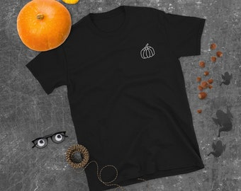 Pumpkin Embroidered Tee   White OLM Pumpkin Embroidered T-Shirt   Fall, Autumn T-Shirt   Pumpkin Tee   The Creeperie