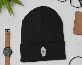Coffin Unisex Cuffed Beanie   Coffin Winter Hat   Halloween Hat, Beanie   The Creeperie