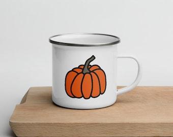 Pumpkin Mug   Orange Pumpkin Mug   Pumpkin Enamel Mug   Camping Mugs   Coffee lovers   The Creeperie