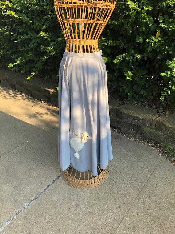 Gray Wool Felt 1950's Poodle Skirt