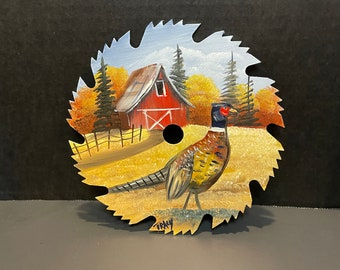 Hand Painted 6 Inch Saw Blade Pheasant and Barn Country Scene