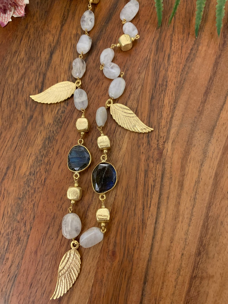 labradorite with brass gold plated necklace
