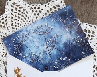 Blank Note Card & Envelope, Birthday, Winter grass greeting card, Botanical postcard, Christmas card, New Year Card