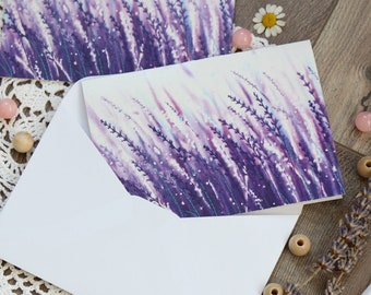 Blank Note Card & Envelope, Lavender Greeting Card, Purple card, Botanical Postcard, Flower handmade card, Birthday Card, Thank you card