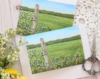 Blank Note Card & Envelope, Greeting Printed Card, Postcard, Flowers, Landscape, Botanical, Summer, Blooming