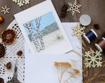 Handmade Christmas card, Winter postcard, Fabric, Artist's card, Embroidery, Textile artwork, Fiber Art, Textile picture