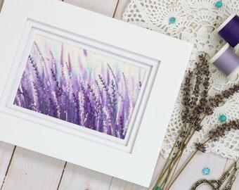 Mother's Day Gift, Lavender artwork, framed textile art, fiber art, wall art, thread landscape
