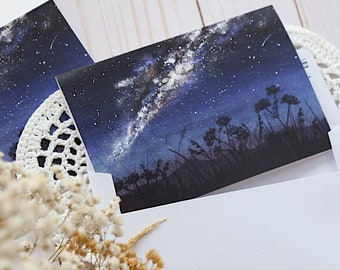 Blank Note Card & Envelope, Birthday, Night Sky Milky Way Stars Galaxy Nature, Greeting, Botanical Postcard, Blue handmade card, Thank you