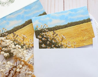 Blank Note Card & Envelope, Birthday Card, Daisy Wheat Field Greeting Card, Summer, Botanical Postcard, Yellow handmade card, Thank you card