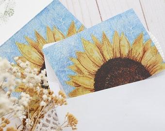 Blank Note Card & Envelope, Birthday, Sunflower Flower Nature Greeting Card, Fall, Botanical Postcard, Yellow handmade card,Thank you card