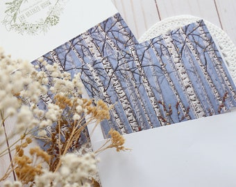 Blank Note Card & Envelope, Birch Tree Card, Winter Nature, Birthday Greeting, Botanical Postcard, Blue handmade card, Thank you card