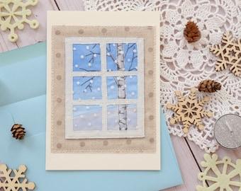 Christmas card, Birch tree postcard, Artist's card, Embroidered card, Textile artwork, Fiber Art, Textile picture, Winter Postcard