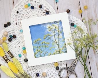 Fennel art, nature framed textile art, thread landscape