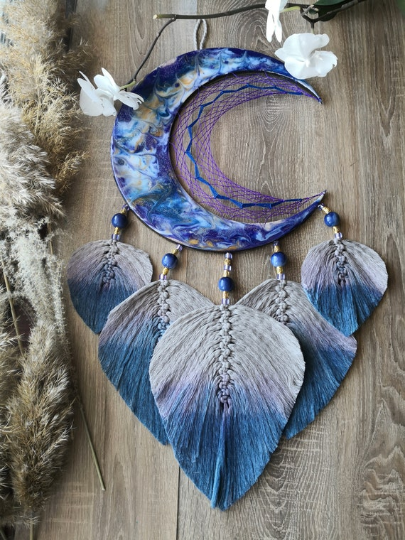 Moon Phase Wall Hanging Boho Chic Moon Garland Home Decor Hanging Ornaments For Apartment Dorm Office Nursery Living Room Bedroom, blue