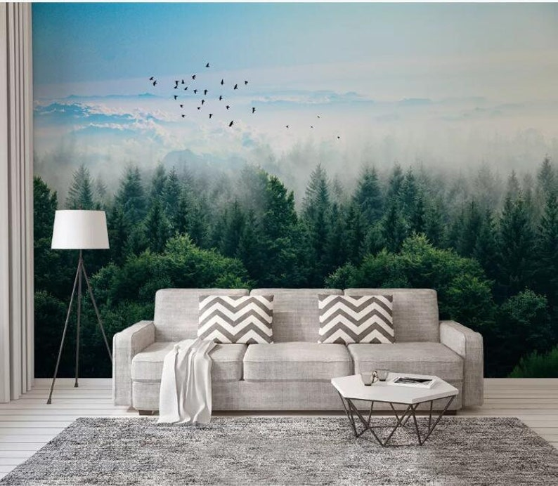 Foggy Trees Forest Mural Wallpaper Mist Pine Trees Forest And Flying Birds Landscape Wall Murals Wall Decor