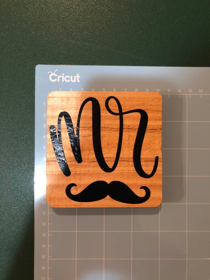 Coasters Mrs Set Of 3 Affordable   Mr Cricut Sports Team Wedding Last Name Custom Name  Word First Name Vinyl Wood