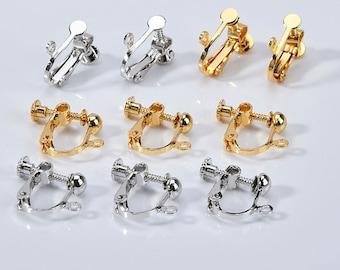 10pcs Gold Tone Brass Clip-on Earring Blanks Nickel Free Converter Findings 19mm