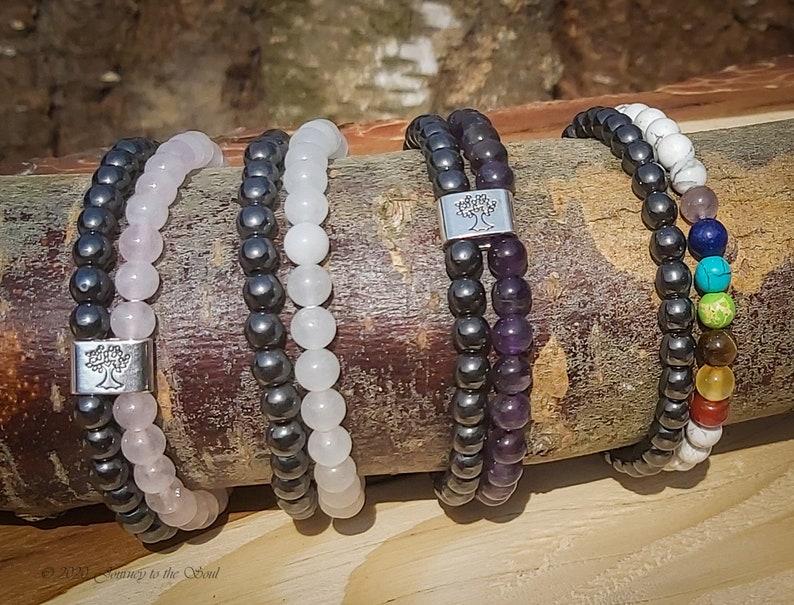 Boho Magnetic Rozenkwarts Armband past altijd Hematite gemstone bracelet