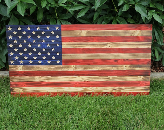 American Flag - Wooden - USA - Hand Crafted - America