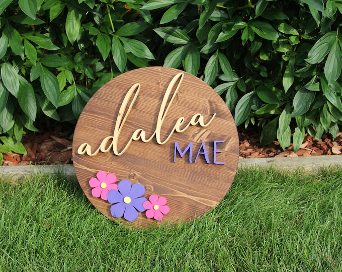 Custom Nursery Sign - Round - Hand Crafted - One of a Kind