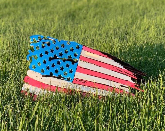 American Flag - Metal - Tattered - USA - America