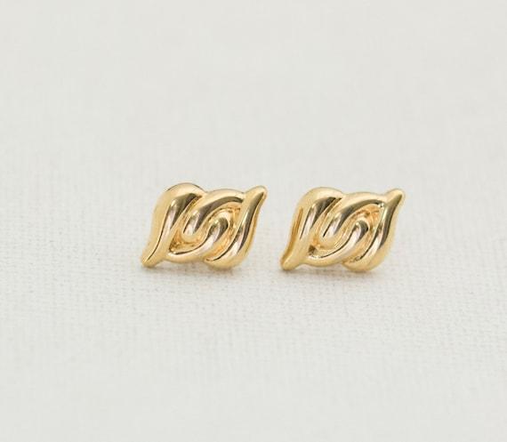Gold Stud Earrings, Vintage Earrings, Gold Studs,… - image 2
