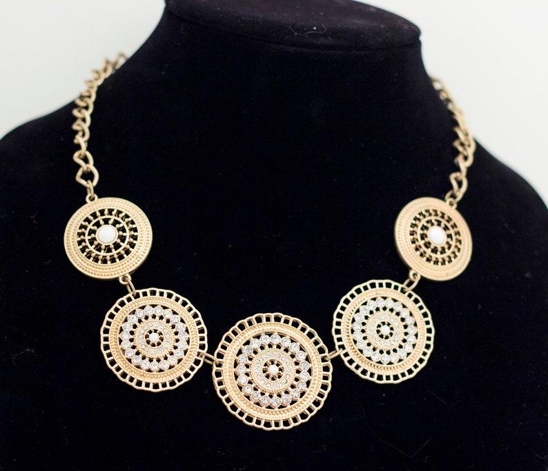 Art Deco Necklace White Necklace Big Necklace Flapper Necklace Vintage Necklace Black Necklace Avon Necklace Large necklace